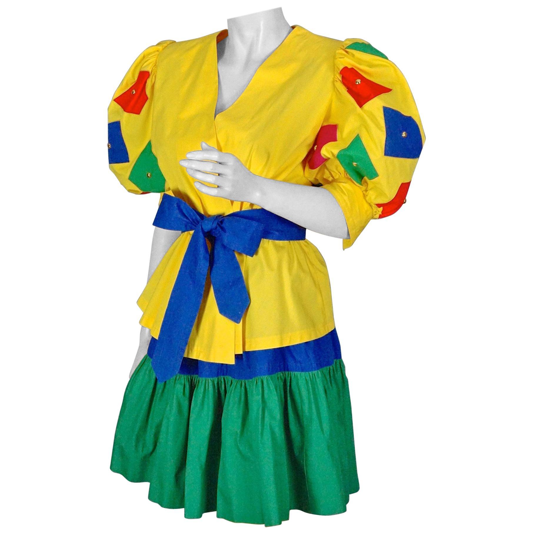 Vintage GIVENCHY NOUVELLE BOUTIQUE Color Block Balloon Sleeves Blouse Skirt Suit