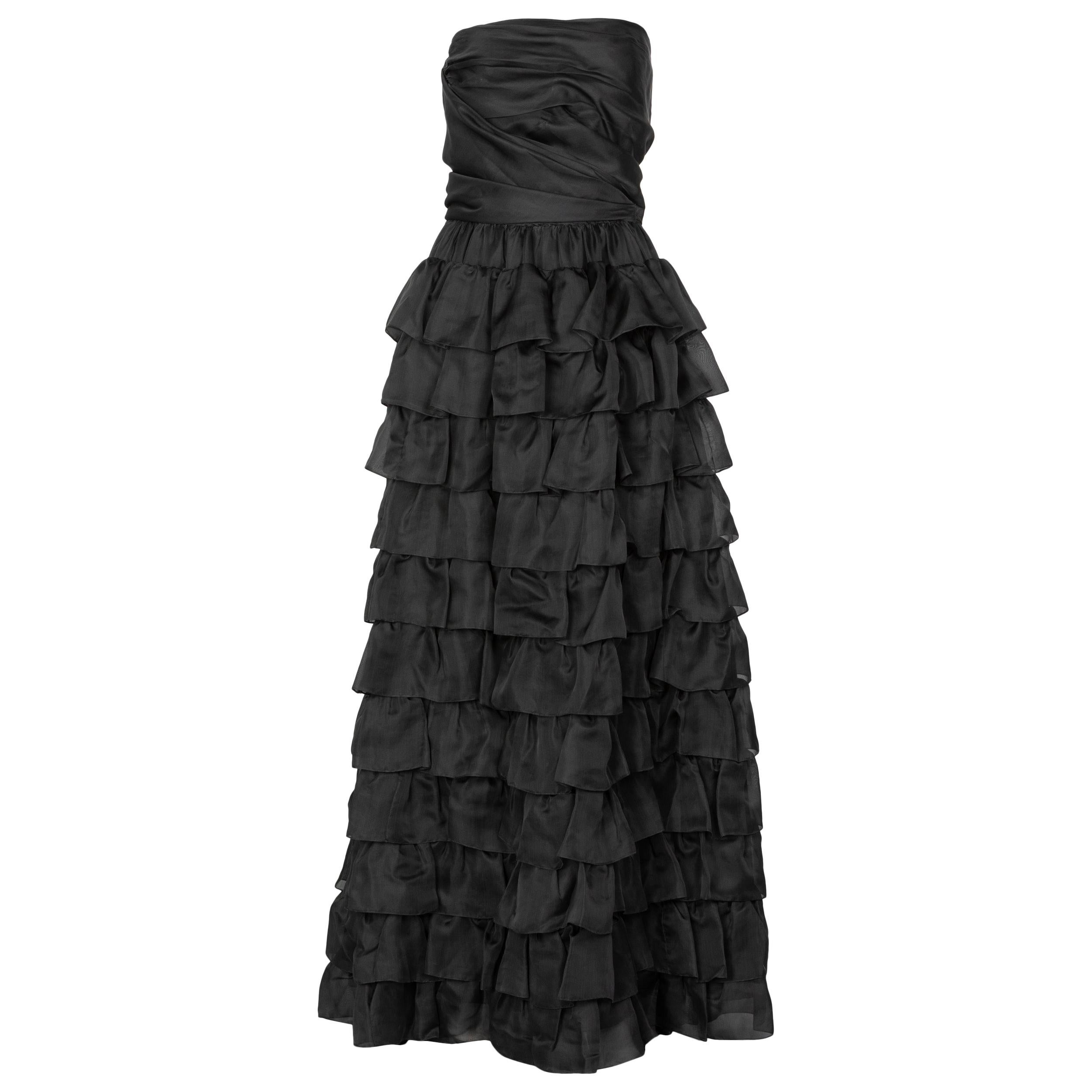 Vintage Givenchy Numbered Haute Couture Black Strapless Ruffled Gown, 1970s