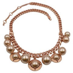 Vintage Givenchy Pink Gold-tone Metal Faux Pearl Necklace 2000's