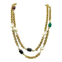 Vintage Givenchy Poured Glass Pate De Verre Gems & Pearls Sautoir Chain Necklace