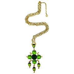 Vintage Givenchy Runway Gold & Fancy Cut Vivid Green Crystal Cascade Necklace