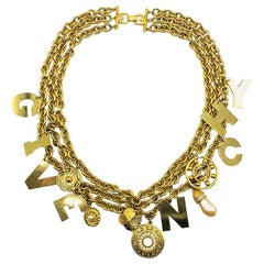 Vintage Givenchy Standout Runway Logo Charm Chain Collar 1980s