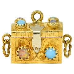 Vintage Glass 18 Karat Two-Tone Gold Treasure Chest Charm