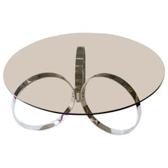 Vintage Glass and Chrome-Plated Coffee Table