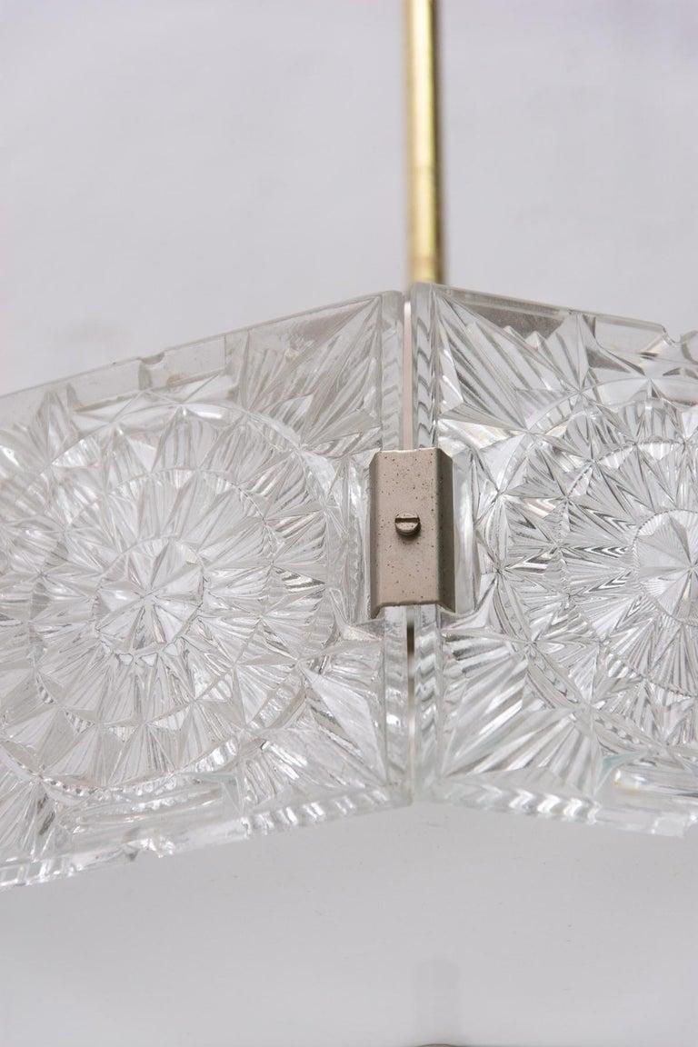 Vintage Glass and Chromed Steel Pendant Lamp by Kamenický Šenov, 1970s For Sale 6