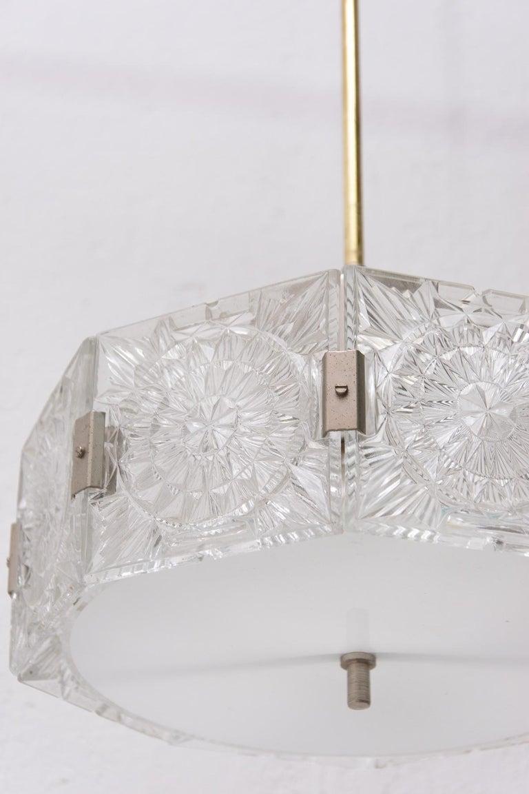 Vintage Glass and Chromed Steel Pendant Lamp by Kamenický Šenov, 1970s For Sale 7