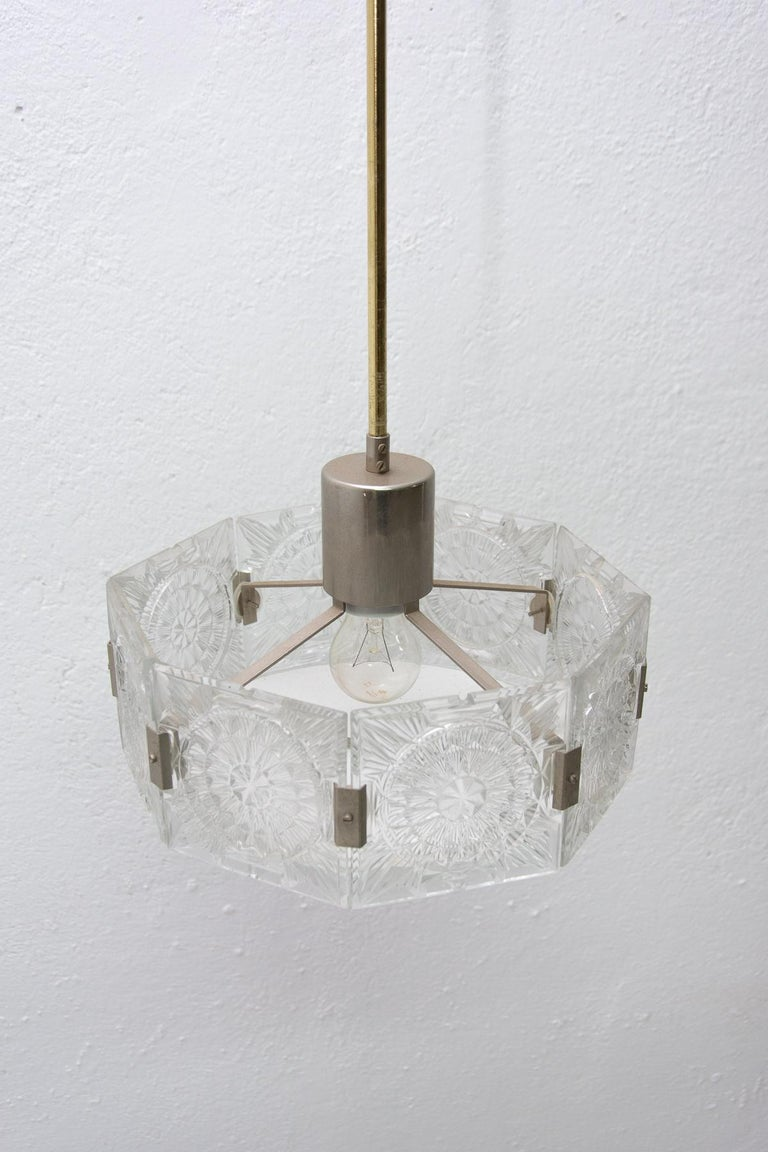 Vintage Glass and Chromed Steel Pendant Lamp by Kamenický Šenov, 1970s For Sale 11