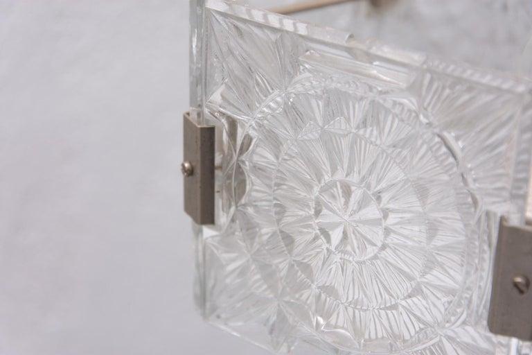 Vintage Glass and Chromed Steel Pendant Lamp by Kamenický Šenov, 1970s For Sale 13