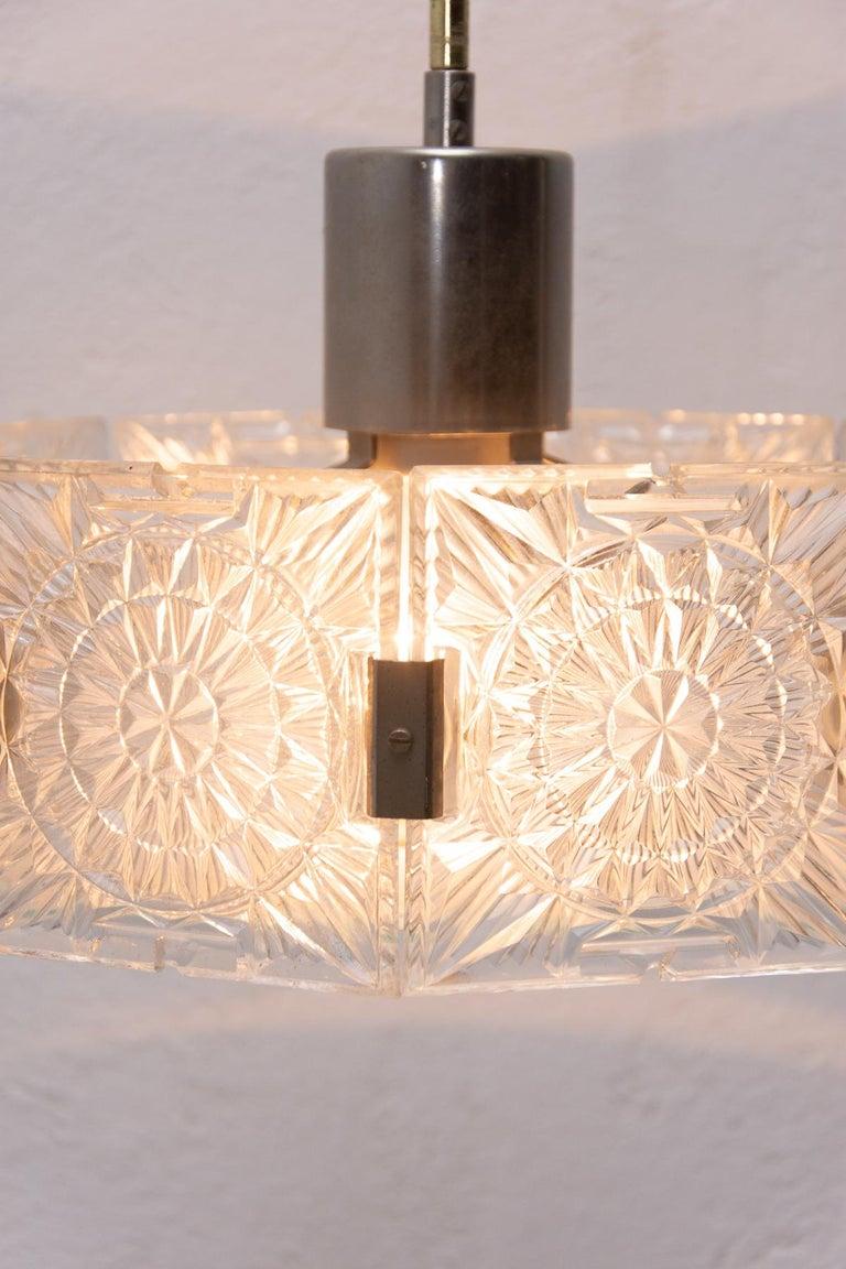 Mid-Century Modern Vintage Glass and Chromed Steel Pendant Lamp by Kamenický Šenov, 1970s For Sale