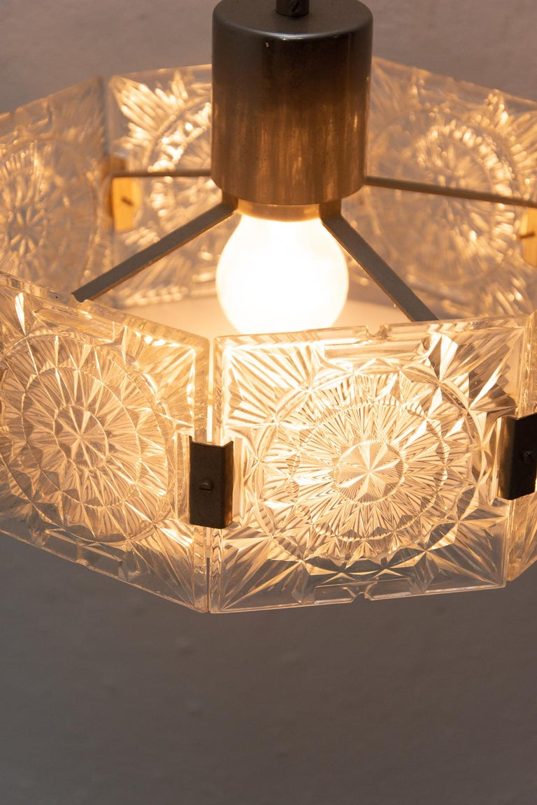 Czech Vintage Glass and Chromed Steel Pendant Lamp by Kamenický Šenov, 1970s For Sale