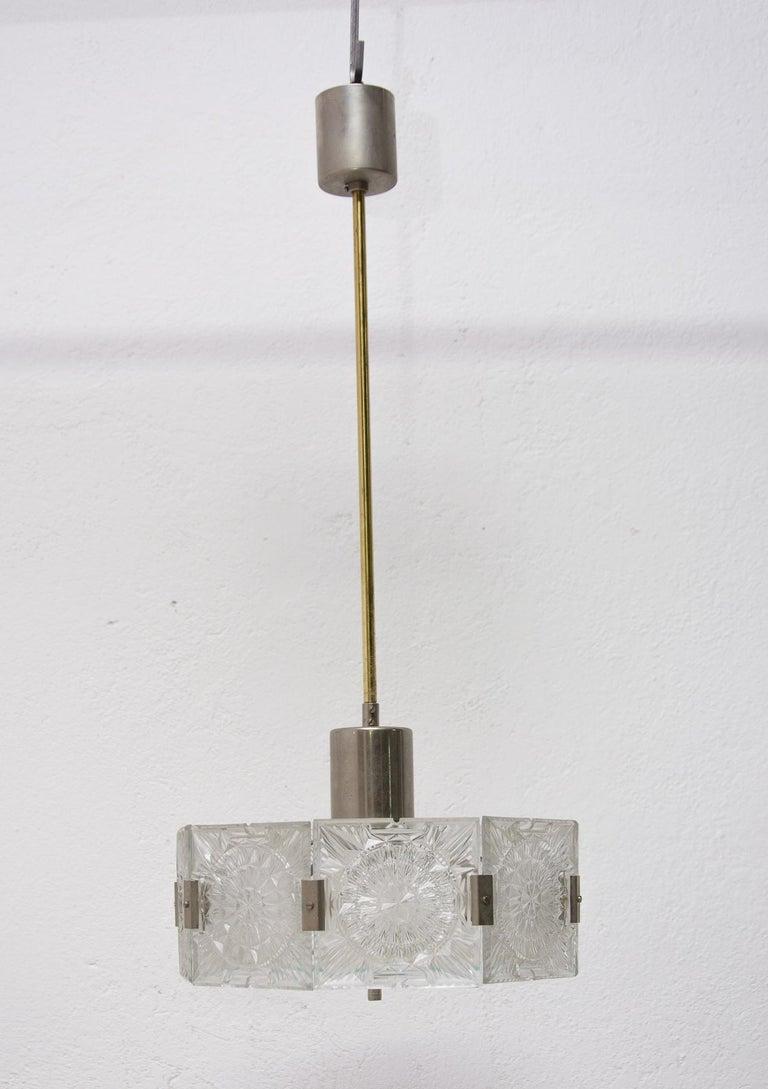 Late 20th Century Vintage Glass and Chromed Steel Pendant Lamp by Kamenický Šenov, 1970s For Sale