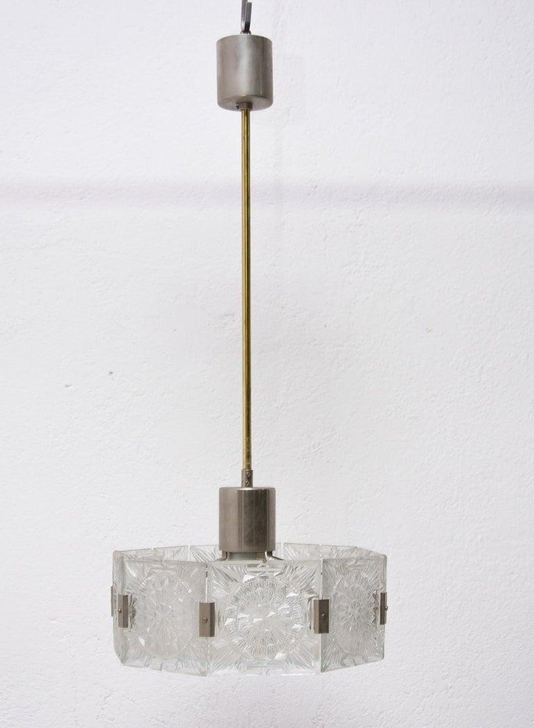 Vintage Glass and Chromed Steel Pendant Lamp by Kamenický Šenov, 1970s For Sale 1
