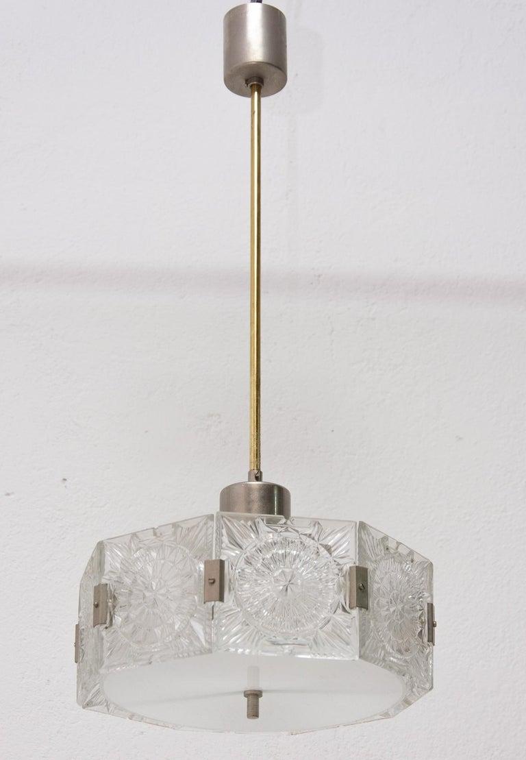 Vintage Glass and Chromed Steel Pendant Lamp by Kamenický Šenov, 1970s For Sale 2