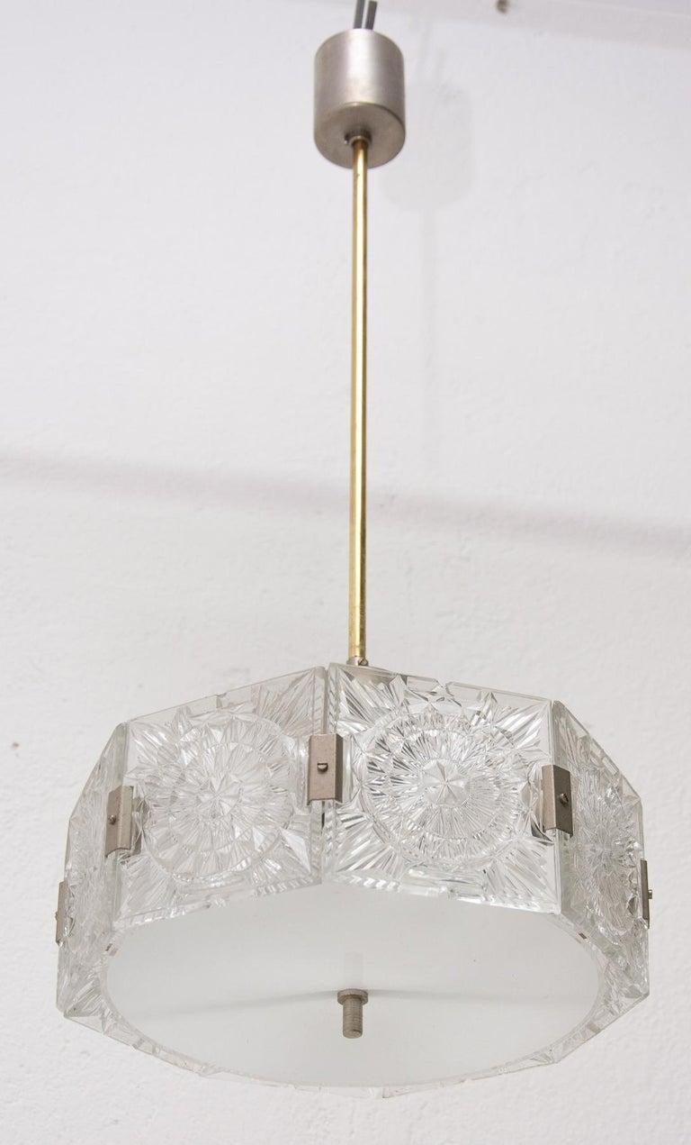 Vintage Glass and Chromed Steel Pendant Lamp by Kamenický Šenov, 1970s For Sale 3