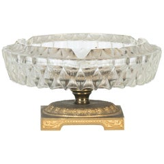 Vintage Glass and Gilded Metal Ashtray, Italy, 1950s