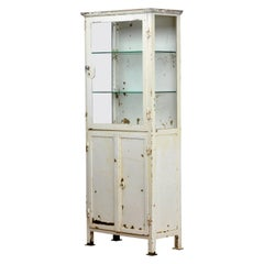Vintage Glass and Iron Medical Cabinet, 1920s