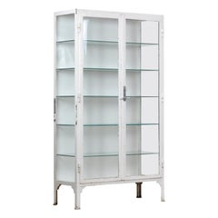 Vintage Glass and Iron Medical Cabinet, 1940s