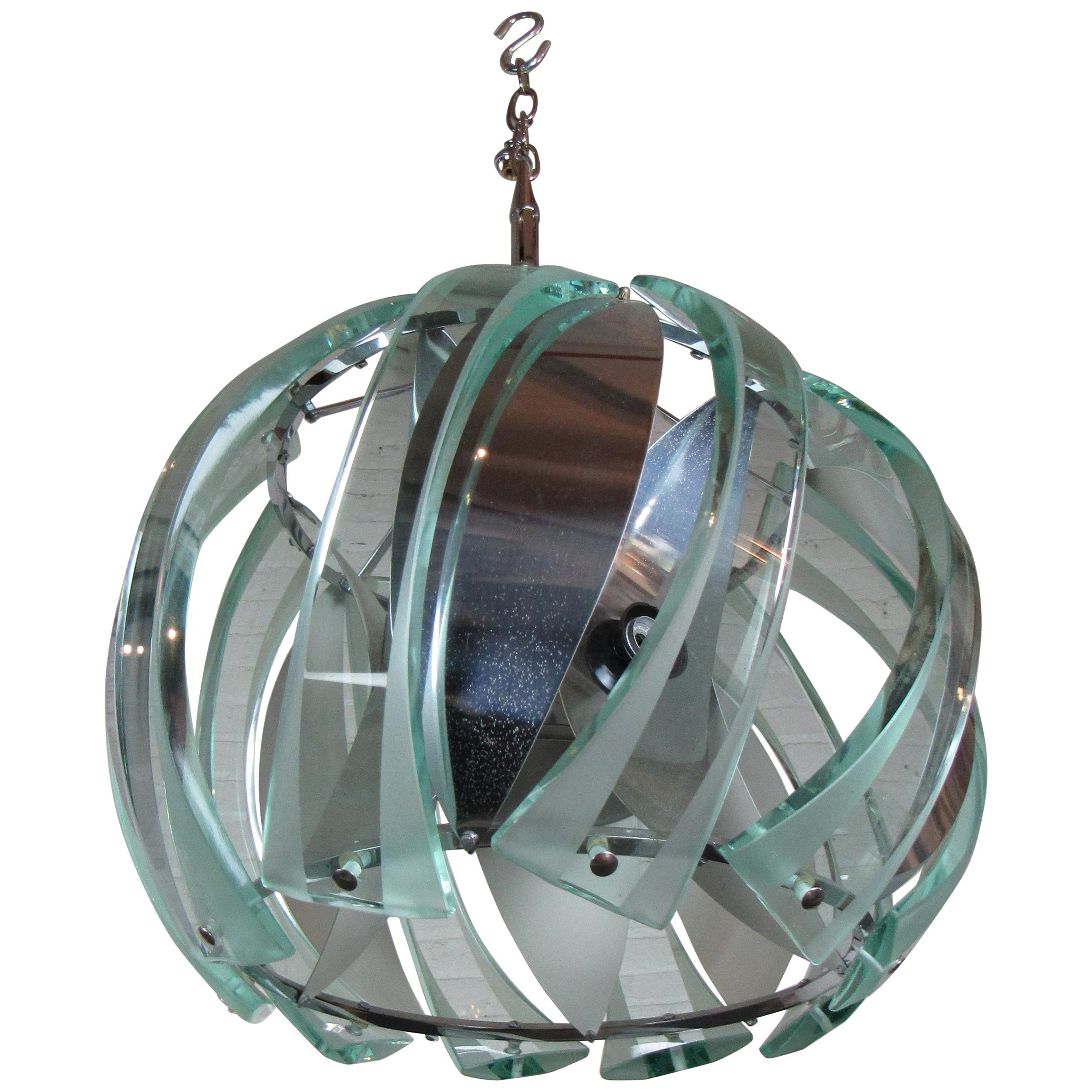Vintage Glass and Metal Pendant