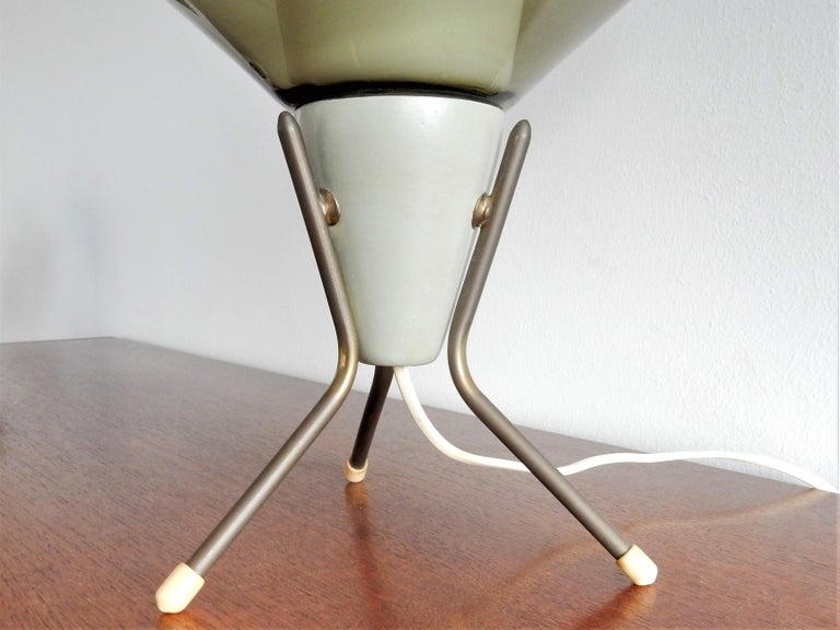 European Vintage Glass and Metal Tripod Table Lamp, 1960s For Sale