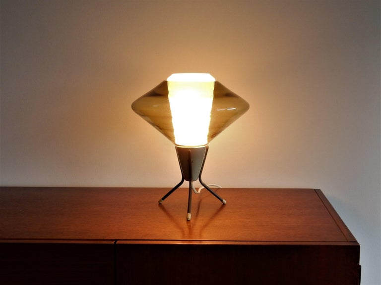 Mid-20th Century Vintage Glass and Metal Tripod Table Lamp, 1960s For Sale