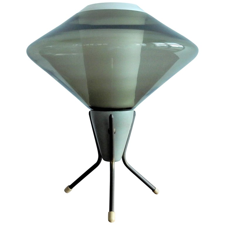 Vintage Glass and Metal Tripod Table Lamp, 1960s For Sale
