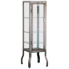 Vintage Glass and Steel Pharmacy Style Display Cabinet