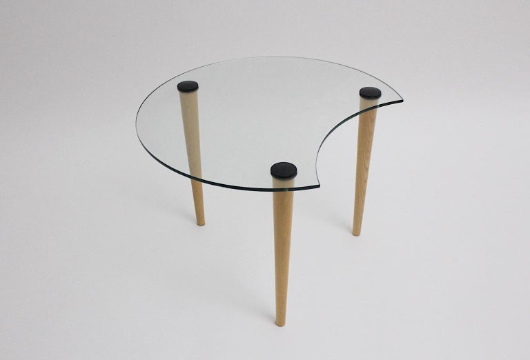 Modern Vintage Glass Beech Coffee Table/ Side Table, Italy, 1970s For Sale
