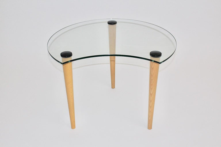 Italian Vintage Glass Beech Coffee Table/ Side Table, Italy, 1970s For Sale