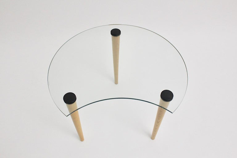 Vintage Glass Beech Coffee Table/ Side Table, Italy, 1970s In Good Condition For Sale In Vienna, AT