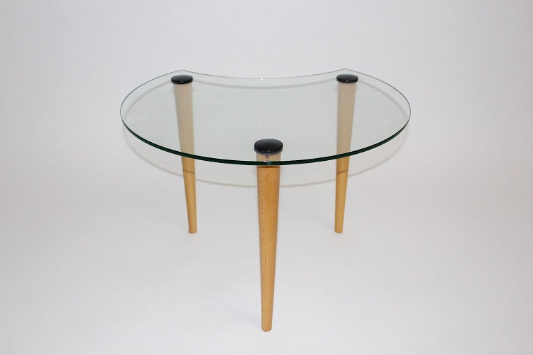 Late 20th Century Vintage Glass Beech Coffee Table/ Side Table, Italy, 1970s For Sale