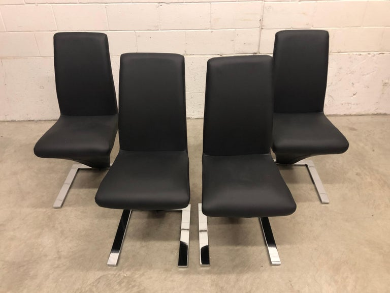 Vintage Glass Dining Table and Zig Zag Dining Chairs, Set of 5 For Sale 6
