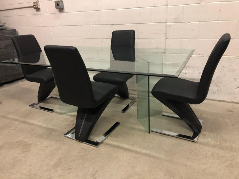 Vintage Glass Dining Table and Zig Zag Dining Chairs, Set of 5 In Good Condition For Sale In Amherst, NH