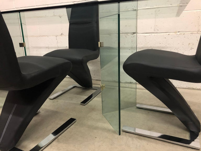 20th Century Vintage Glass Dining Table and Zig Zag Dining Chairs, Set of 5 For Sale