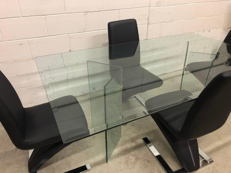 Vintage Glass Dining Table and Zig Zag Dining Chairs, Set of 5 For Sale 2