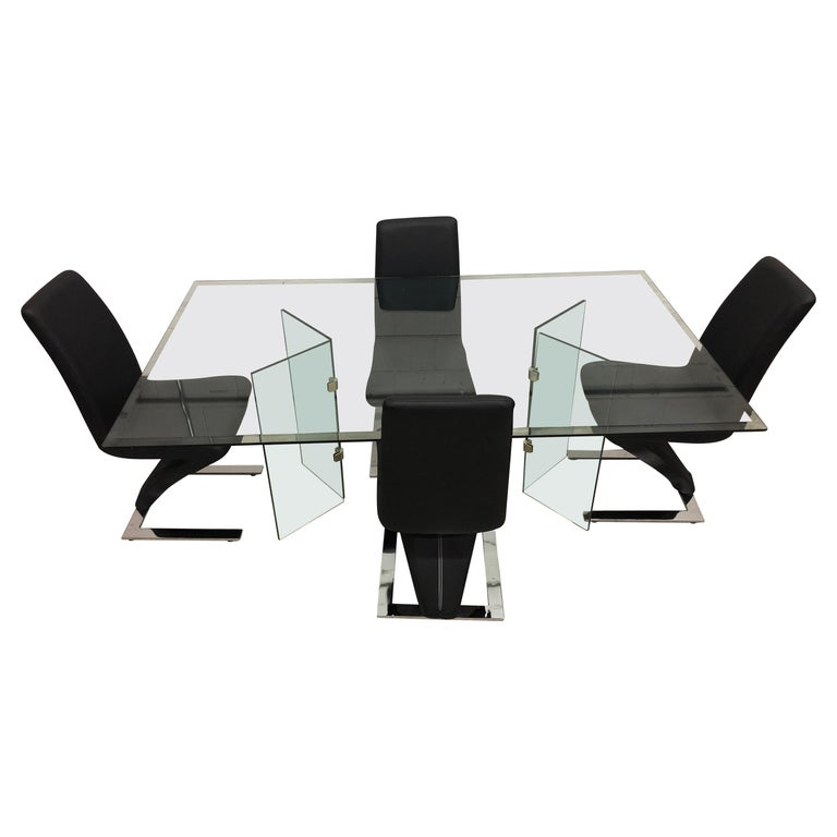 Vintage Glass Dining Table and Zig Zag Dining Chairs, Set of 5 For Sale
