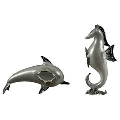 Vintage Glass Dolphin and Seahorse, Half of 20th Century