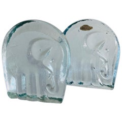 Vintage Glass Elephant Bookends by Blenko