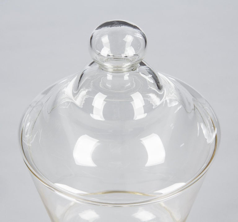 French Vintage Glass Lidded Candy Jar, France, Midcentury For Sale