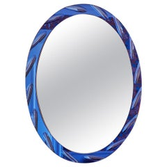 Vintage Glass Mirror with Blue Tinted Glass Frame, Italy, '1960s'