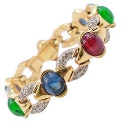 Vintage Glass Multicolor Bracelet 1990s