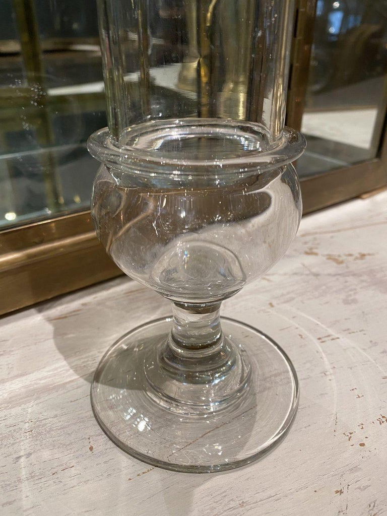 French Vintage Glass Pharmacy Storage Jar with Lid, France For Sale