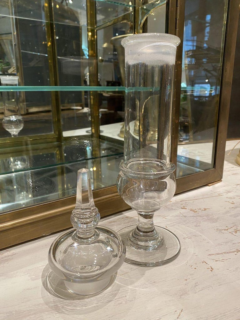 Vintage Glass Pharmacy Storage Jar with Lid, France In Good Condition For Sale In Copenhagen K, DK
