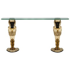 Vintage Glass Top Console Table Pharaoh Base