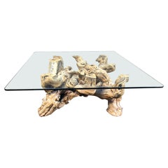 Vintage Glass-Topped Driftwood Coffee Table