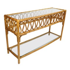 Vintage Glass Topped Ribbon Ripple Rattan Sofa Table Console Table