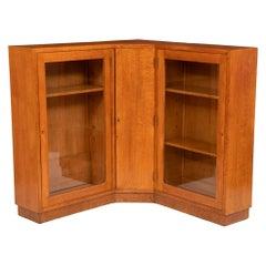 Vintage Glazed Heals Style Oak Corner Bookcase