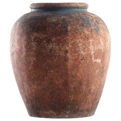Vintage Glazed South Asian Terracotta Storage Jar