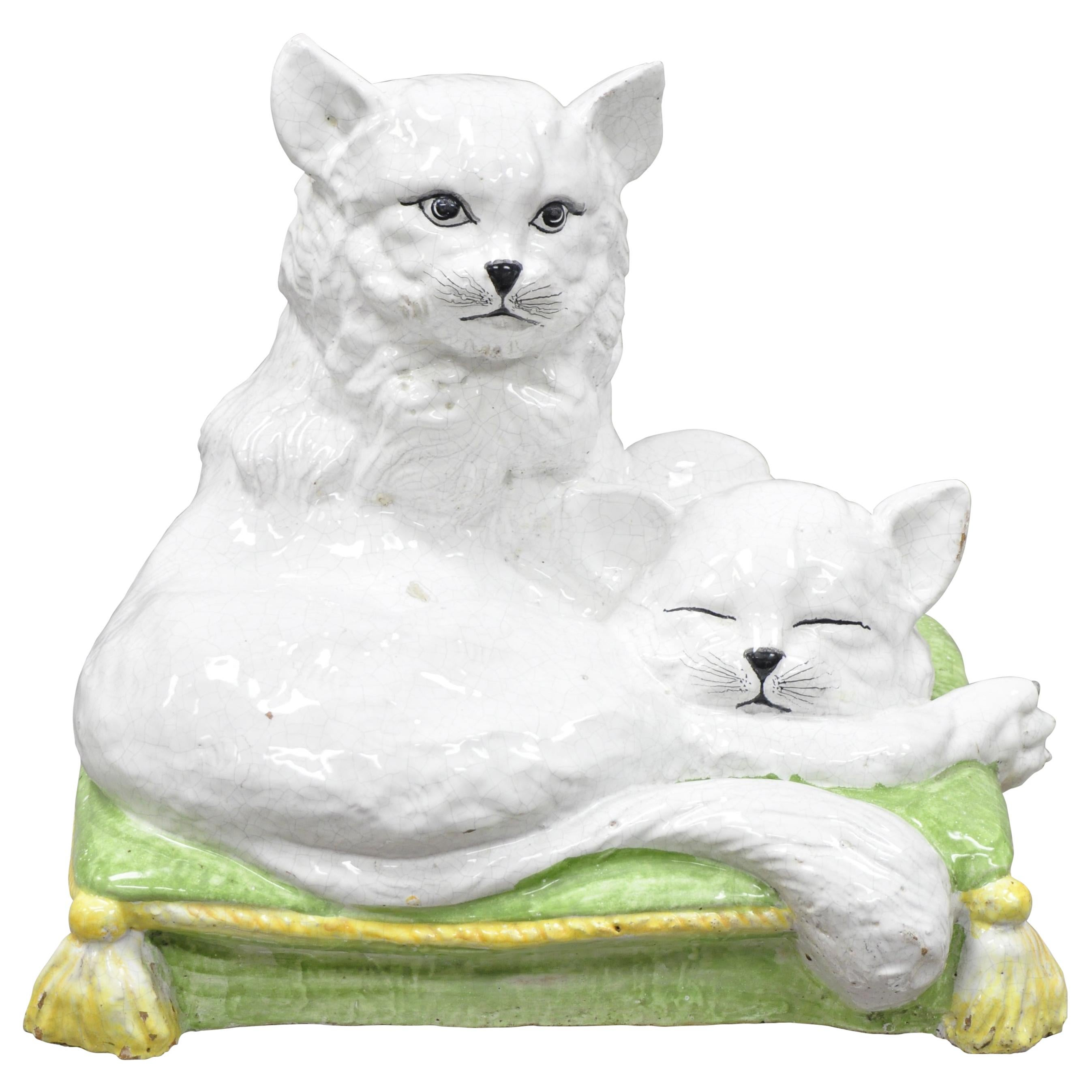 Vintage Glazed Terracotta Italian Hollywood Regency Sculpture Two Cats on Pillow