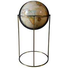 Vintage Globe on Brass Stand After Paul McCobb, circa 1979