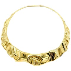 Vintage Glossy Yellow Gold Choker Necklace